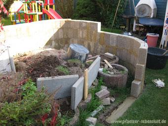 Schöner Garten, zugewuchtert, hässliche Pflanzringe weg, kreativ umgestalten, mauern