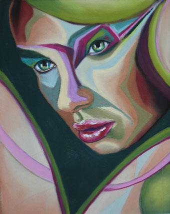 gemaltes abstrahiertes Portrait in Pastell