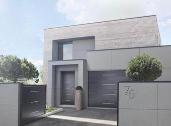 Porte d'entrée moderne gris coordonnée avec la porte de garage et le portail