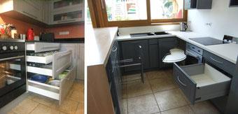 Tiroirs coulissants et accessoires de cuisine réalisée par FMA Menuiserie