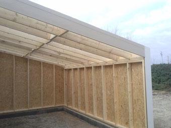 extension en ossature bois d'un garage réalisé par FMA Menuiserie Lezay