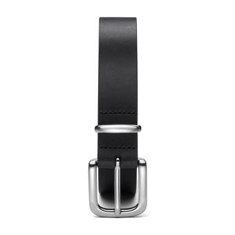 schmaler Damengürtel Leder schwarz mit Schnalle in silber