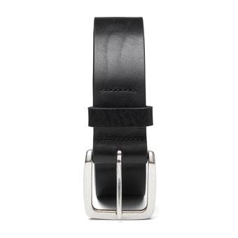 schmaler Damengürtel Leder in schwarz mit Schnalle in silber