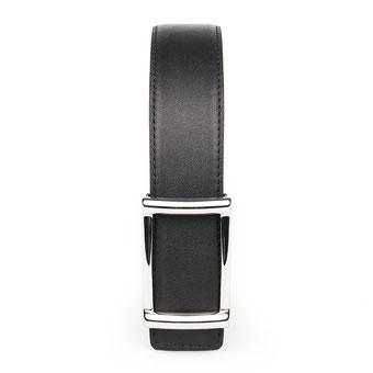 eleganter Damengürtel genäht in schwarz mit rechteckiger Schnalle in silber