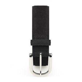 Damengürtel aus Nubuk Leder in schwarz mit Schnalle in silber
