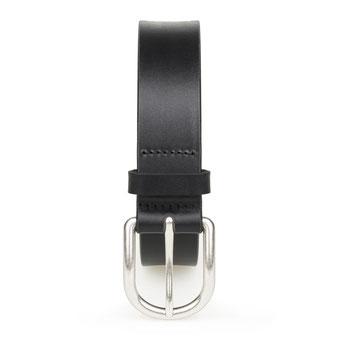 Damen Jeans Ledergürtel schwarz mit Schnalle in silber