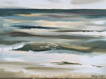 Golven,  Philine van der Vegte, olieverf op doek 30x40cm
