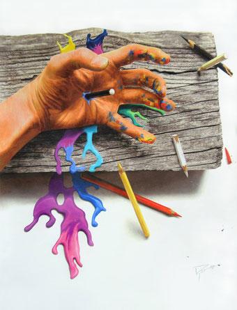 """""""Duel , le châtiment"""" 2015 (74 X 94 cm)"""