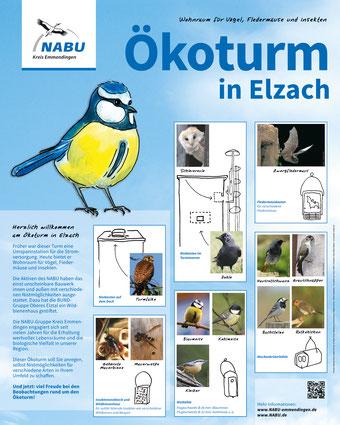 Infotafel Ökoturm Nisthilfen Vögel