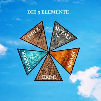 Die fünf Elemente: Feier, Erde, Wasser, Holz, Metall