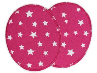 Bild: Zwei große Knieflicken Sternchen pink zum aufbügeln Bügelflicken