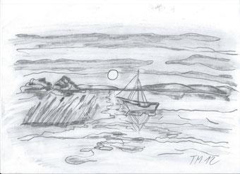 Boot in Abenddämmerung