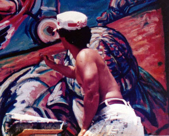 George Yepes, 21 years old, painting murals in East Los Angeles, California  USA
