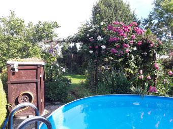 Bunter Blumengarten mit Pool