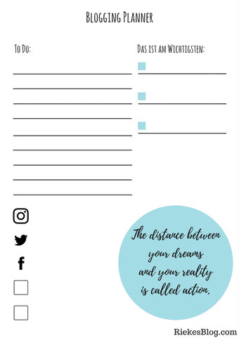 Blogging Planner To Do Liste