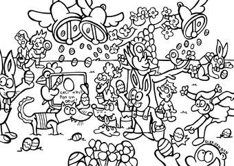 Dirk Van Bun Communicatie & Vormgeving - illustraties - tekeningen - cartoons - corona - Pasen inkleurtekening