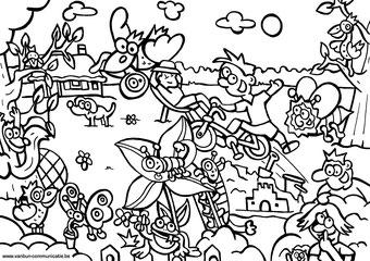 Dirk Van Bun Communicatie & Vormgeving - illustraties - tekeningen - cartoons - corona in uw tuin inkleurversie