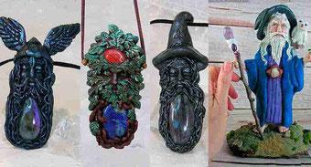 Colgante Odín, Figura Odín, Colgante Greenman, Colgante Merlín, Figura Merlín
