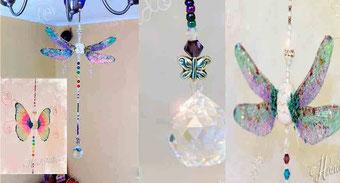 Móvil colgante Feng shui, cristal Feng shui, Feng shui libélula, Feng shui Mariposa, decoración feng shui, hogar feng shui