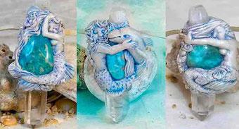 Colgante Sirena, collar Sirenas, Sirena con Delfín, Sirena con caballito de Mar