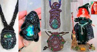 Colgante Sacerdotisa de Avalon, Morgana, Colgantes de Brujas con cristales