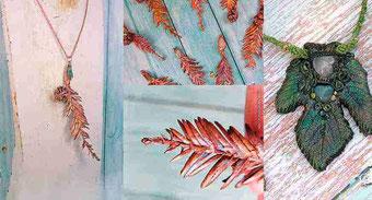 Colgante Hoja Secuoya bañada en Cobre, joyería con hojas