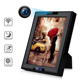 seguridadelectronica.com.gt Cámara de espía inalámbrica oculta Marco de fotos con reloj HD 1080P WiFi IP Nanny Cam Cámaras de seguridad para el hogar Visión nocturna Detección de movimiento