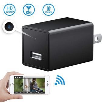 ámara espía oculta-Cargador USB Cámara-SOOSPY WiFi inalámbrico 1080P Cargador de pared para interiores Cámara / Niñera con detección de movimiento