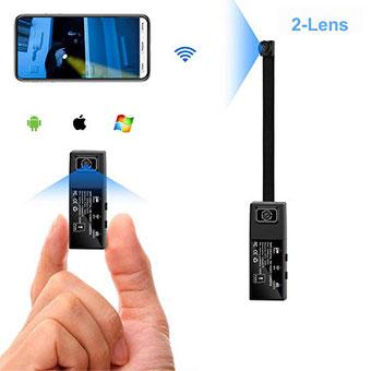 Cámara mini cámara espía Wifi 2 lentes HD 1080P Cámara oculta portátil Cámara portátil con cuerpo de niñera para aplicaciones móviles con alarma de detección de movimiento Version Versión de actualización)