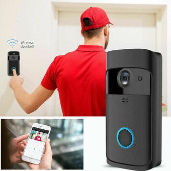 INTWF1  Este timbre wifi puede conectarse a un WiFi doméstico y lograr un intercomunicador de dos vías entre el timbre y el teléfono celular.