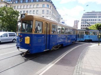 スウェーデン色の cafe付トラム