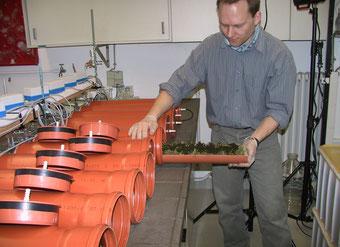 Abbildung 6: Einführen einer gülle-applizierten Grassode in die Probenkammer