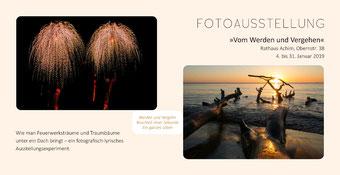 """Flyer Fotoausstellung """"Vom Werden und Vergehen"""" im Rathaus Achim vom 4. bis 31. Januar 2019"""