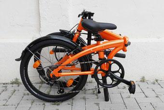 Faltrad Tern link B7 Orange zusammengeklappt