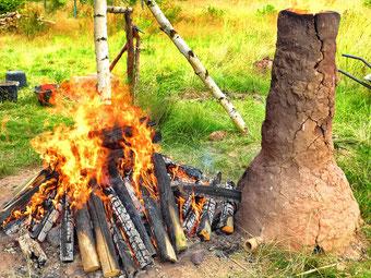 Eisenverhüttung auf der Zeiteninsel, Feuer und Verhüttungsofen