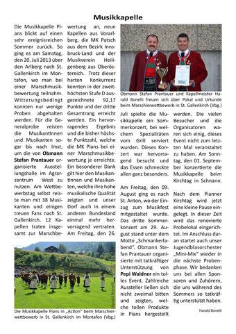 Bericht Gemeindezeitung Pians, Ausgabe 55, 03/2013