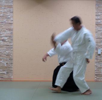 ⑥丹田に振り降り、同側の膝腰と共に地に結ぶ。