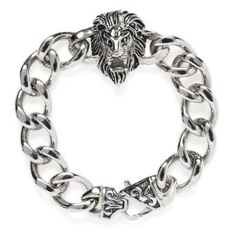 Edelstahl, Armband, Löwenkopf aus geschwärztem Edelstahl 89,00€