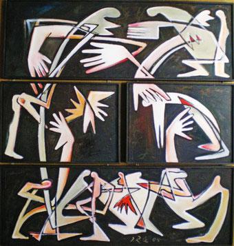 © Ilse Rex-Lenius, Aggregation in vier Teilen, Öl auf Leinwand 2005