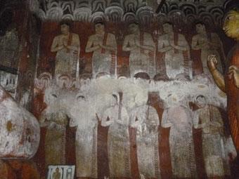 スリランカ・ダンプーラ石窟寺院の壁画