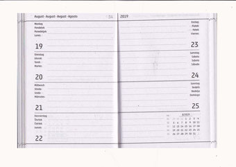 Buchkalender / Taschkalender DinA7,2019