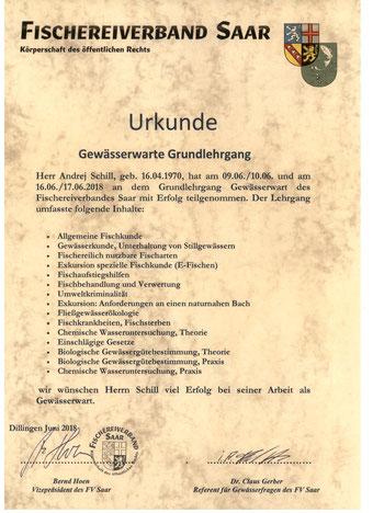 Urkunde Gewässerwarte  - Свидетельство наблюдателя за водными объектами и водоёмами