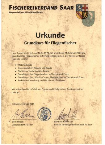 Urkunde - Fliegefischer   -   Свидетельство рыбака для рыбалки нахлыстом
