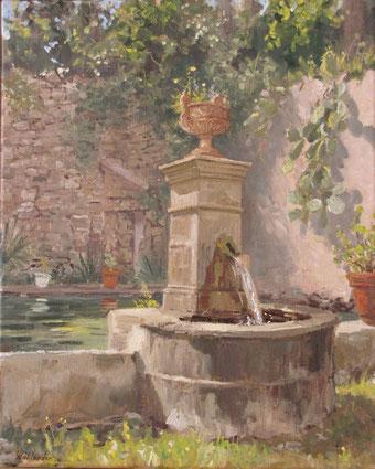 Tony Wahlander (Wåhlander) La belle fontaine de la grande Bastide de Barjols