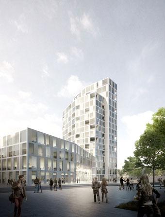 Hochhaus am Sandtorplatz Magdeburg Wissenschaftshafen Industriehafen Wissenschaftsquartier 2018 Herr & Schnell Architekten Hamburg