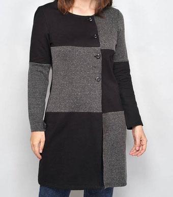 cardigan-schwarz-grau-karomuster