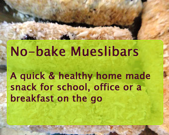 No-Bake Mueslibars with oats coconut almond and currants