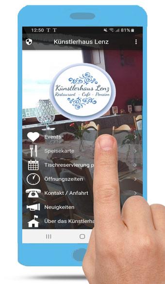 Restaurant Künstlerhaus Lenz in Gladenbach, Android Smartphone App und Tablet App.