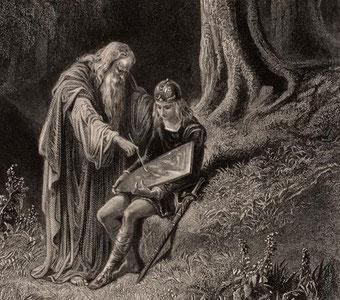 Merlin faisant l'éducation du jeune roi Arthur.