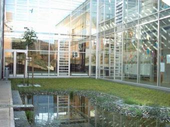 Teich mit Blick auf die Aula